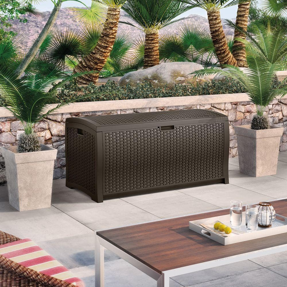 YVMV - Clearance Suncast Wicker 99 Gal. Resin Deck Box at Home Depot for $50.04