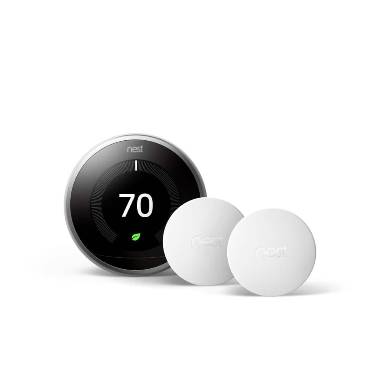 Nest Learning Thermostat 3rd Gen in Stainless Steel and Google Nest Temperature sensor (2-pack) at Home Depot for $214