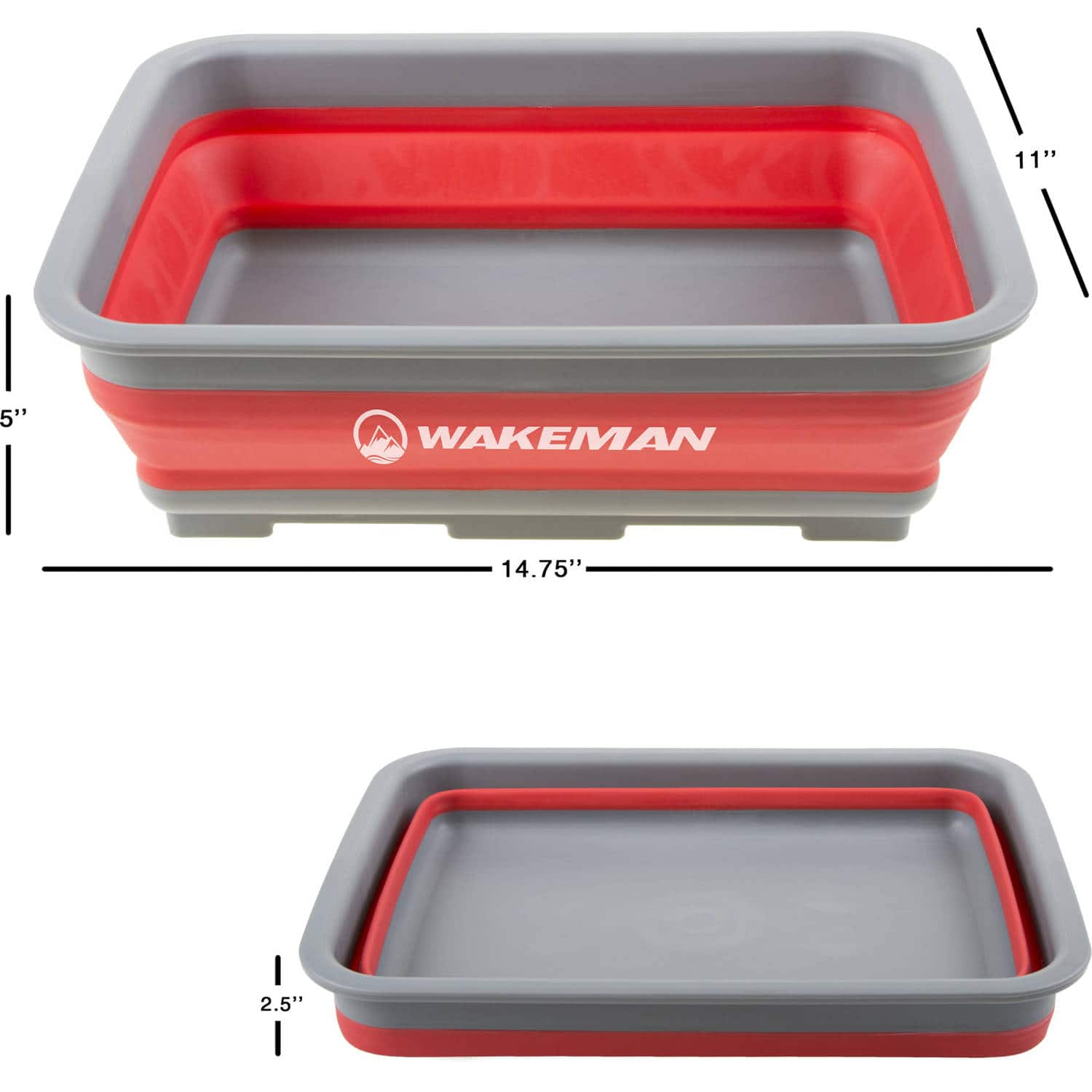 Collapsible Multiuse Wash Bin- Portable Wash Basin/Dish Tub/Ice Bucket with 10 L Capacity for Camping, Tailgating, More by Wakeman Outdoors (Red)  $8.84