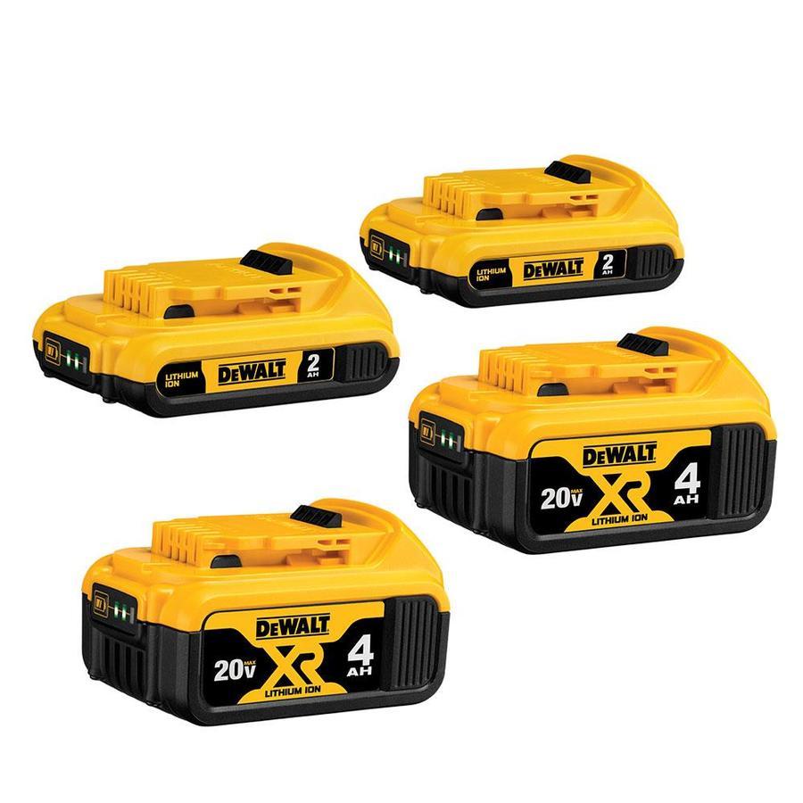DEWALT 4-Pack 20-Volt Max 2-Amp-Hours/4-Amp-Hours Power Tool Battery $179