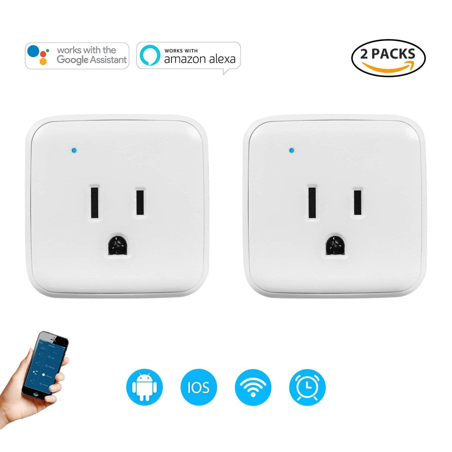 2 Pack 1250W/5A Wi-Fi Control Smart Plug 20% OFF & 12-Outlet Heavy-Duty Power Strip with 15 Amps, 15-Foot Power Cord 5% OFF