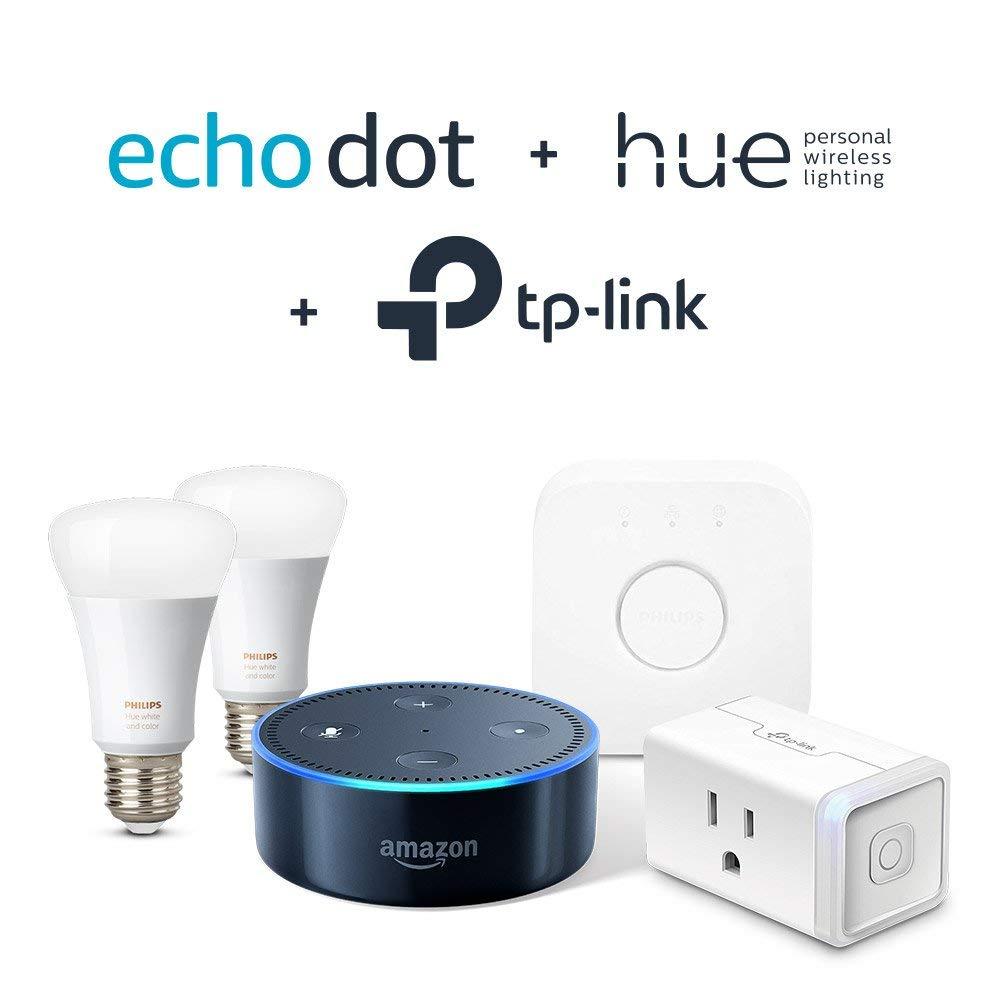 Echo Dot, Philips Starter Kit, and TP-Link Plug Bundle $129.99