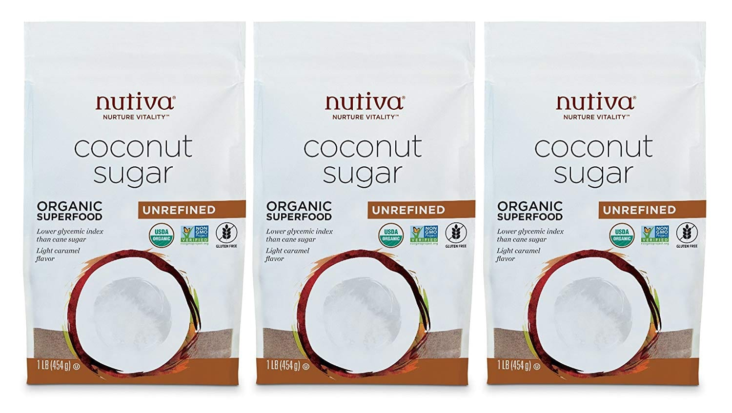 Nutiva Organic, non-GMO, Unrefined Granulated Coconut Sugar, 1-pound (Pack of 3) for $5.56 w/ S&S + Free Shippping
