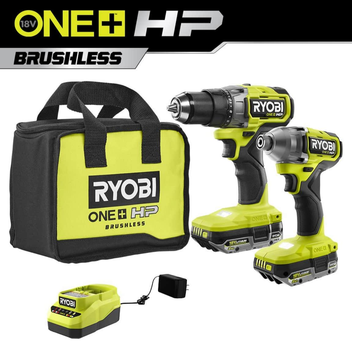 ONE+ HP 18V Brushless Cordless 1/2 in. Drill/Driver (PBLDD01) and Impact Driver (PBLID01) Kit w/ (2) 2.0 Ah High Performance Batteries, Charger, and Bag $147.76
