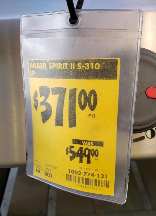 Weber Spirit II S-310 LP $371 Clearance YMMV