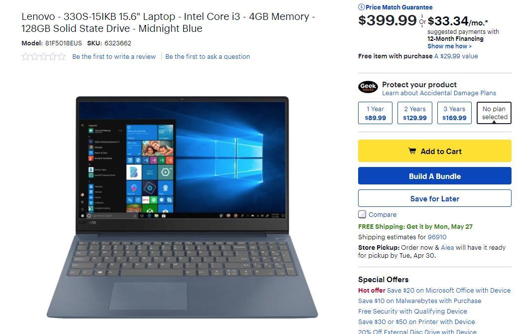 $399 99 Lenovo - 330S-15IKB 15 6