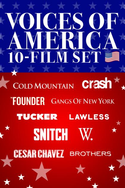 Voices of America 10-Film Set (Tucker 4K, Snitch 4K, Crash HD, etc.) - $19.99 at iTunes
