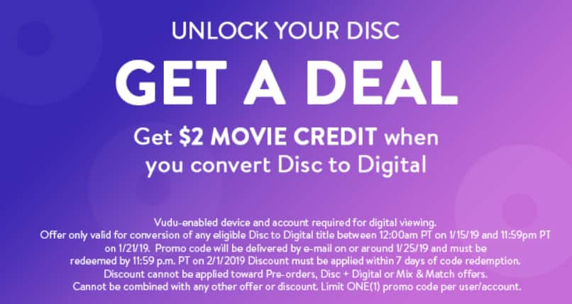 Updated:Get a $2 VUDU Credit When You Convert with Disc to