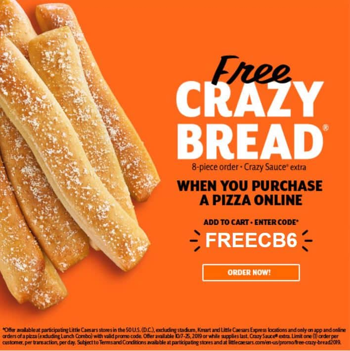 Little Caesars: Oct. 7 - 25 Purchase a Pizza Online & Get Crazy Bread Free (Valid at Participating Locations)