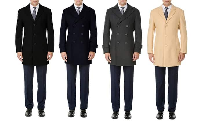 Men's Single- or Double-Breasted Wool-Blend Coat at Groupon for $40 + Freeshipping