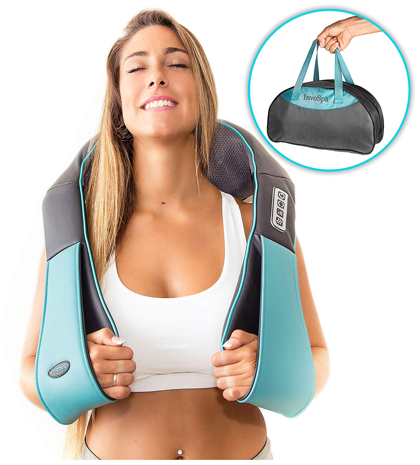 Shiatsu Back Neck and Shoulder Massager with Heat - Deep Tissue 3D Kneading Pillow Massager for Neck, Back, Shoulders, Foot, Legs for $21 at Amazon + FS with Prime
