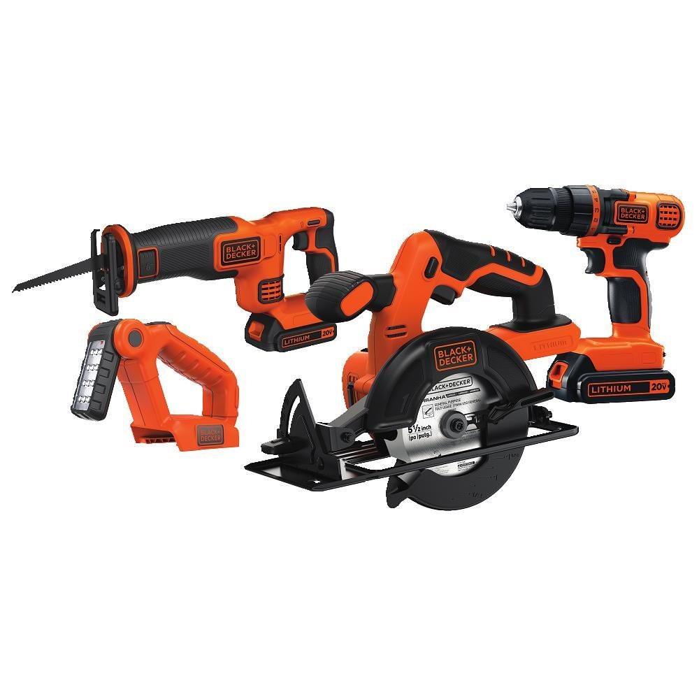 BLACK and DECKER 20V Cordless 4-Tool Combo Kit (Circular Saw, Reciprocating Saw, Drill, Worklight) w/2 batteries at Walmart $92.28