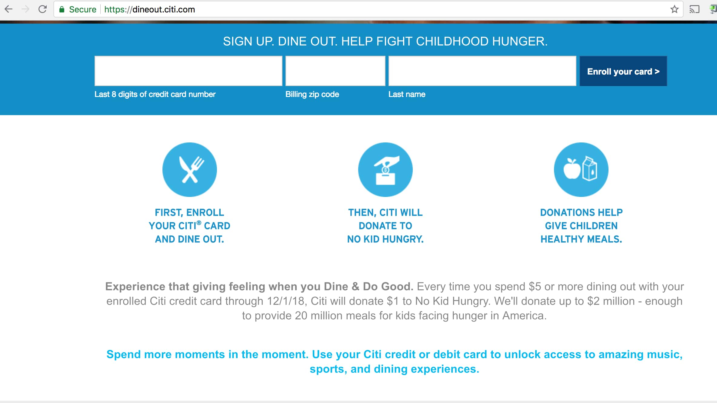 Citi Card - Dine and Do-Good Offer, Help End Childhood Hunger - no cost to you. YMMV
