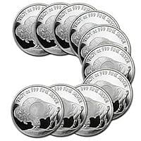 eBay Deal: 10 Sunshine Minting Silver 1oz Buffalo Rounds, with MintMark SI - $182.99 F/S from APMEX via eBay