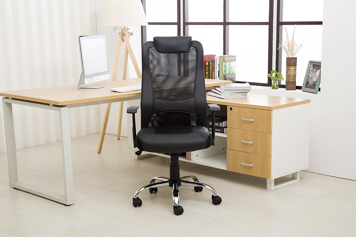 LCH High Back Black Executive Chair with  Leather Seat and Headrest and adjustable armrests $105.99