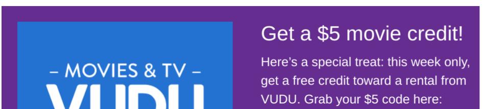 YMMV - $5 Vudu Credit from Roku... Check e-mail