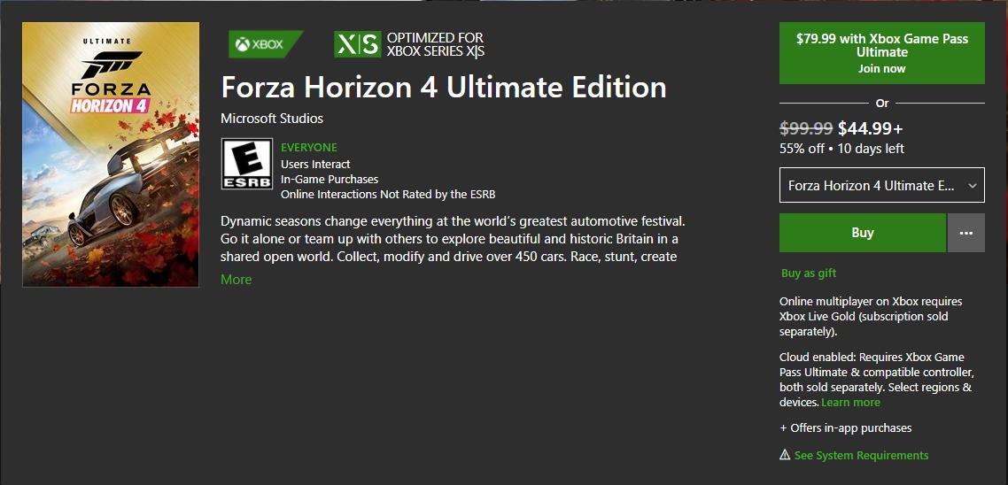 Forza Horizon 4 Ultimate Edition, $45
