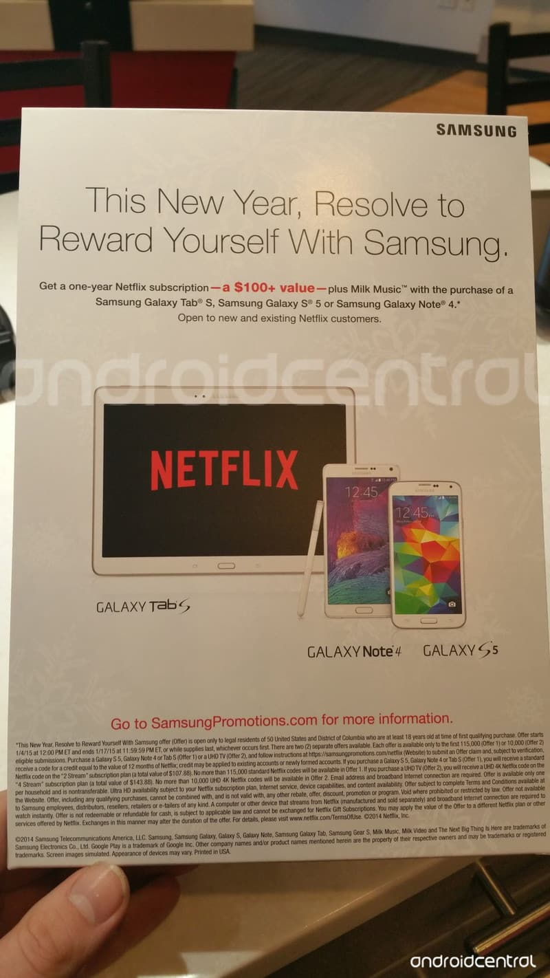 Free 1 yr Netflix subscription w/ purchase of Samsung Galaxy S5, Note 4, Tab S, or 4k TV - Valid now thru 1/17