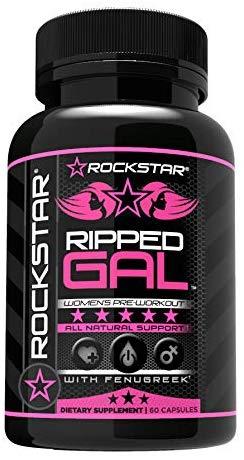 Rockstar Ripped Gal - Pre-Workout Pills by Rockstar, Premium Muscle Building Nitric Oxide Booster with L-Arginine, Rhodiola, Maca, and Muira Puama - 60 Veggie Caps $7.55