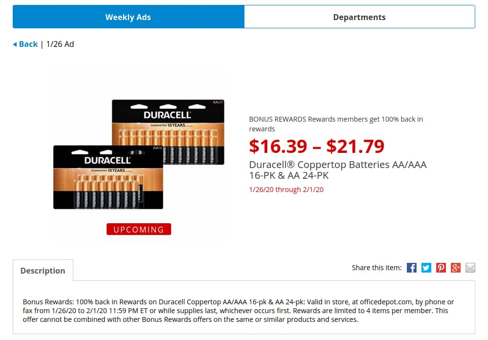 OfficeDepot / OfficeMax Rewards members get 100% back in rewards, Duracell® Coppertop Batteries AA/AAA 16-PK & AA 24-PK $21.79. 1/26 to 2/1