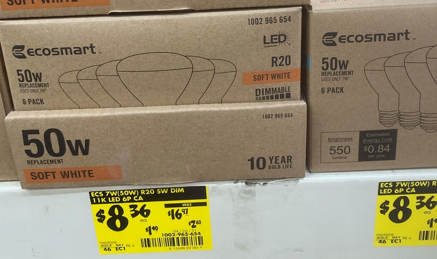 Ecosmart 6 Pack BR20 50-Watt Equivalent Dimmable LED Light Bulbs Clearance In-Store Home Depot YMMV $4.33