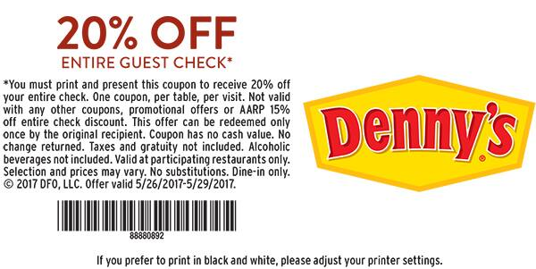 picture relating to Finish Line Printable Coupons 20 Off known as Dennys Cafe - 20% off Printable Coupon Could 26 - 29