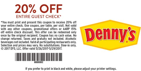 Denny's Restaurant - 20% off Printable Coupon May 26 - 29, 2017