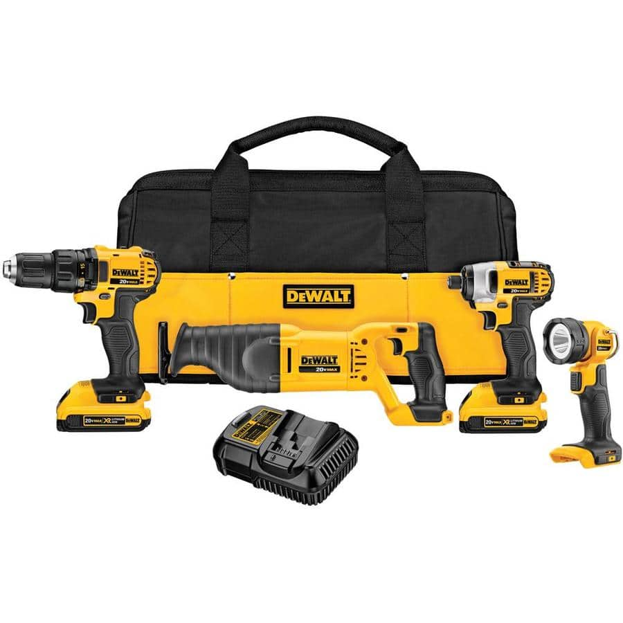 DeWalt 4 Tool 20V Lithium Ion Cordless Combo Kit (Drill, Impact Driver, Reciprocating Saw, Light) $249 In-store or Online w/Free Shipping at Lowes