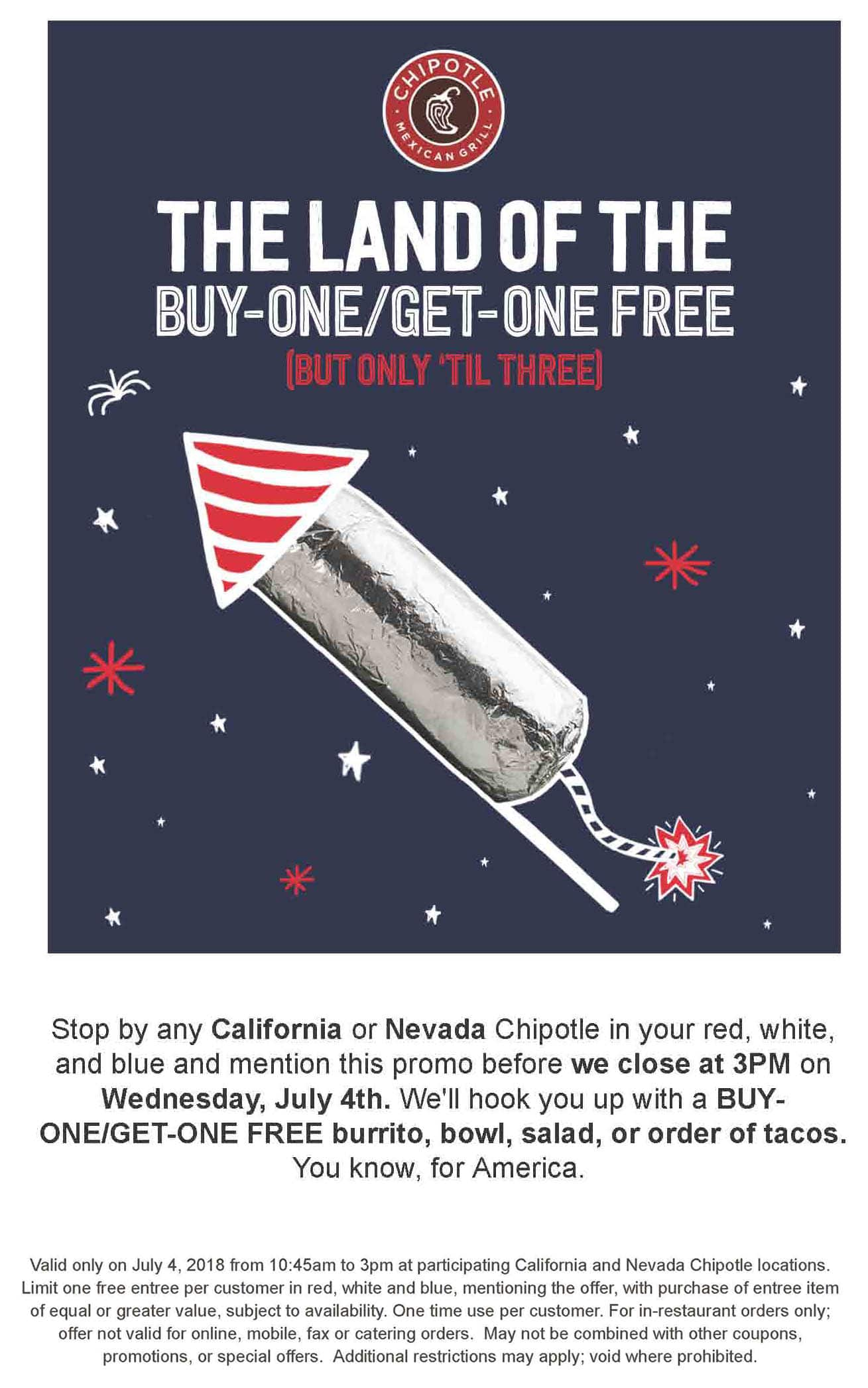 Chipotle Mexican Grill Restaurants in CA & NV - BOGO Free on July 4, 2018, before 3:00 PM