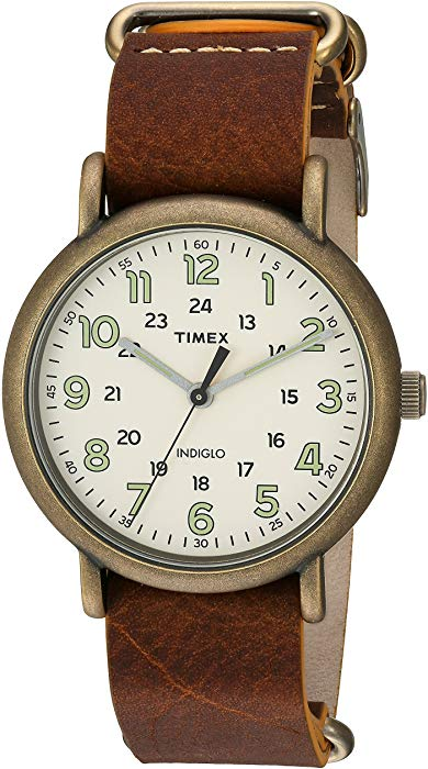 Timex Weekender, 40mm, Antiqued Brown Leather Strap, Antiqued Brass - $25