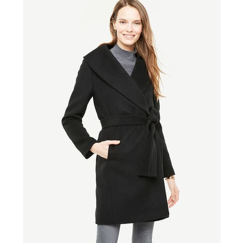 Women's Wool Shawl Collar Wrap Coat (Black or Taupe) - $39.18