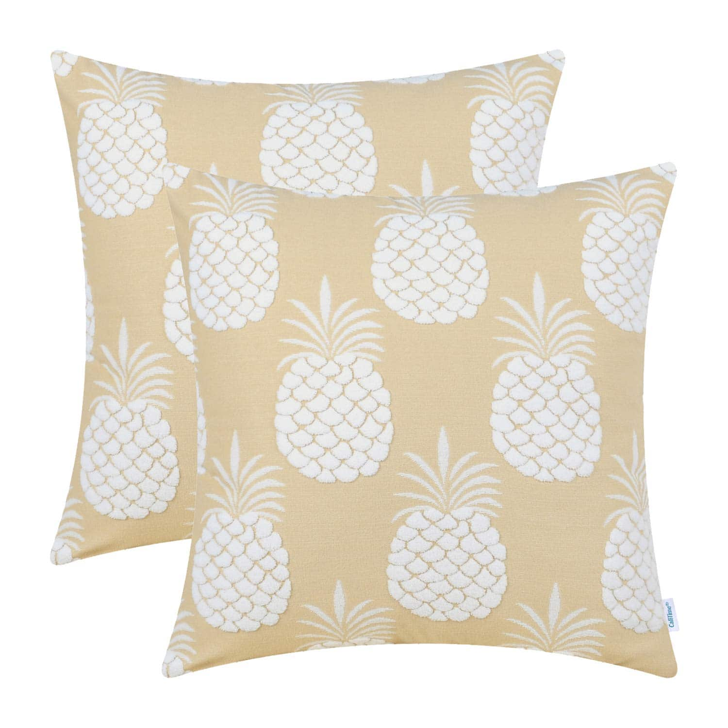 CaliTime 2 Pack of 18x18 inch Throw Pillow Covers - Pineapple - Various Colors for $5.60