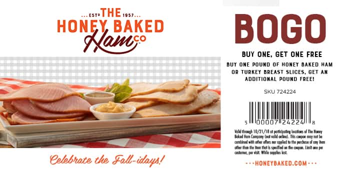 Honeybaked Ham Buy One Honeybaked Ham Or Turkey Breast Slices And
