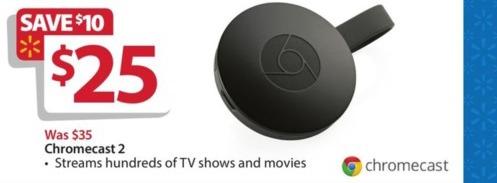 Walmart Black Friday: Chromecast 2 for $25.00