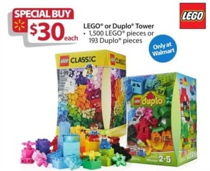 Walmart Black Friday: LEGO 1500-pc. Tower or 193-pc. Duplo Tower for $30.00