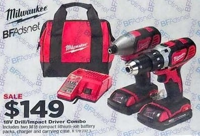True Value Black Friday: Milwaukee M18 Drill Kit, Compact + Hex Impact Driver, Two 18-Volt Lithium-Ion Batteries for $149.00