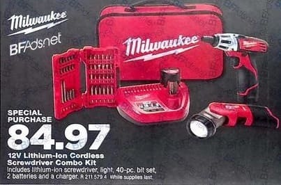 True Value Black Friday: Milwaukee M12 Cordless 2-Tool Combo Kit with Bit Set, Lithium-Ion, 12-Volt for $84.97