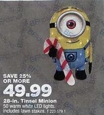 True Value Black Friday: Tinsel Light Up Minion, 28-In. for $49.99