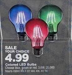 True Value Black Friday: Colored LED Bulbs for $4.99
