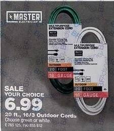 True Value Black Friday: Master Electrician Outdoor Extension Cord 20-ft for $6.99