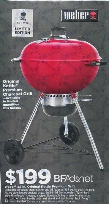 True Value Black Friday: Weber 22-in Original Kettle Premium Charcoal Grill for $199.99