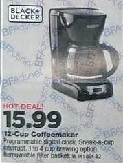 True Value Black Friday: Black & Decker 12-Cup Programmable Coffee Maker for $15.99