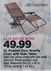True Value Black Friday: Four Seasons Courtyard Zero Gravity Chair, Padded, XL for $49.99