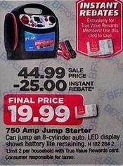 True Value Black Friday: Peak Battery Jump Starter, 750-Amps - $19.99 w/ True Value Rewards Card