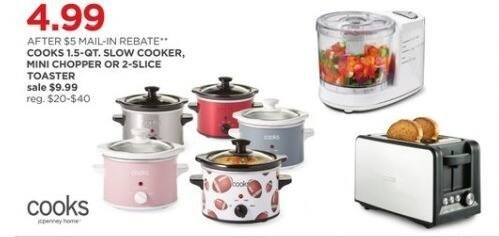 JCPenney Black Friday: Cooks 1.5-qt Slow Cooker, Mini Chopper or 2-Slice Toaster for $4.99 after $5.00 rebate
