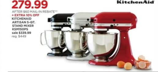 JCPenney Black Friday: Kitchenaid Artisan 5-qt. Stand Mixer + Extra 10% Off for $279.99 after $60.00 rebate