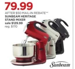 JCPenney Black Friday: Sunbeam Heritage Stand Mixer in Assorted Colors for $79.99 after $50.00 rebate