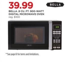 JCPenney Black Friday: Bella 9-cu.ft 900 Watt Digital Microwave Oven for $39.99