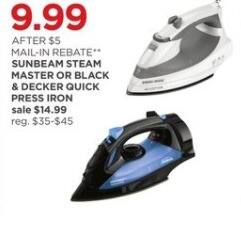 JCPenney Black Friday: Sunbeam Steam Master Press Iron or Black & Decker Quick Press Iron for $9.99 after $5.00 rebate