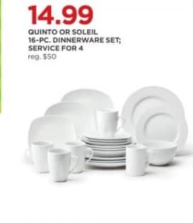 JCPenney Black Friday: Quinto or Soleil 16-pc Dinnerware Set; Service for 4 for $14.99